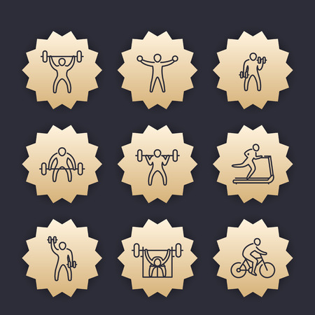 Gym, fitness exercises icons, gold badges with linear pictograms.