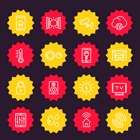 Smart house system icons set, home automation control vector pictographs, linear style. Illustration