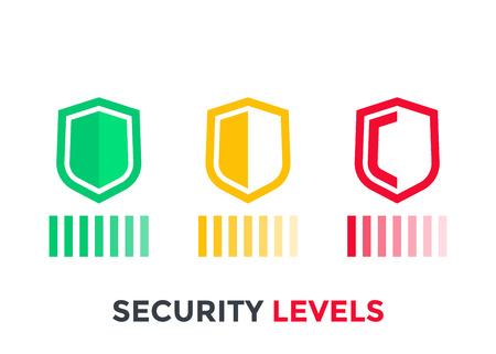 Security levels icons on white background illustration.