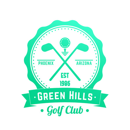 Golf club icon, emblem, badge with crossed golf clubs illustration.