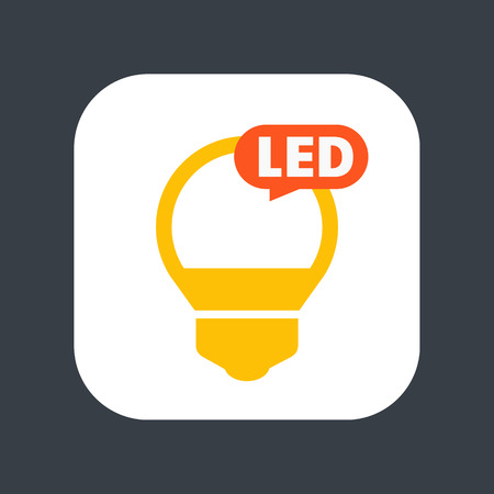 Led light bulb icon, sign over black background illustration.