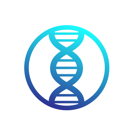 dna strand icon in circle 일러스트