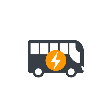 electric bus icon isolated on white