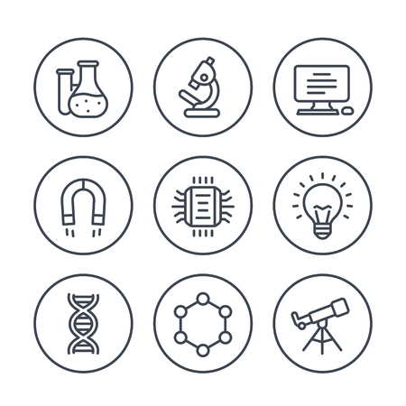 Science, research line icons on white Illustration
