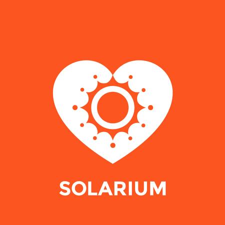 icono de solárium, sol y corazón