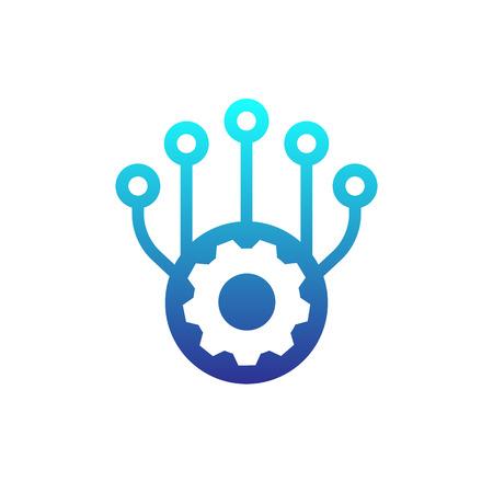 production, development icon on white
