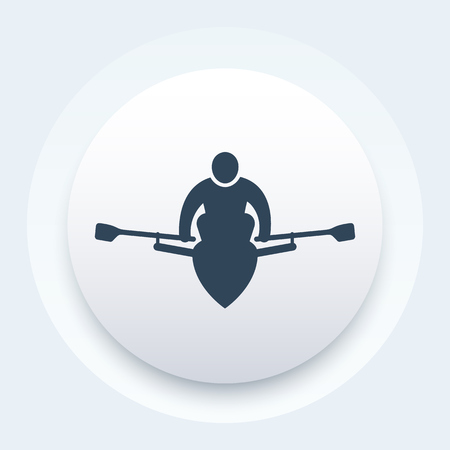 Rowing, rower icon illustration.