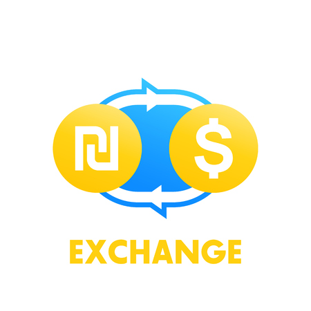 shekel to dollar exchange vector illustration