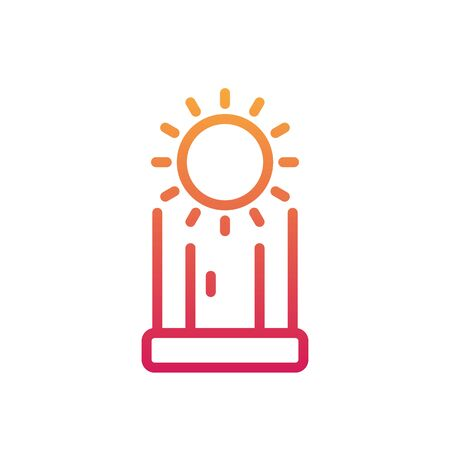 Solarium line icon, vertical solarium cabin on white illustration.