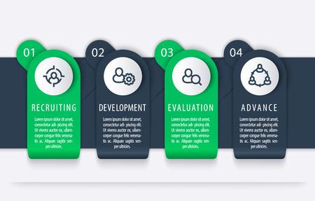 Staff, HR, 1, 2, 3, 4 steps, infographic elements illustration. Illustration