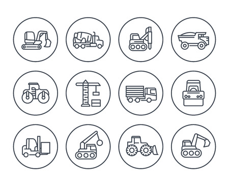 construction vehicles icons on white