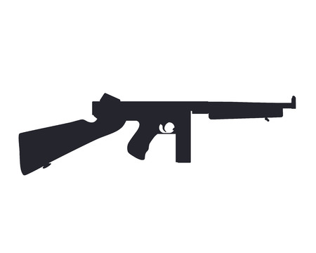 american submachine gun silhouette isolated on white