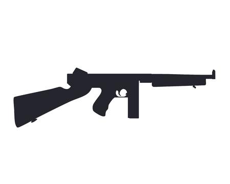 american submachine gun silhouette isolated on white