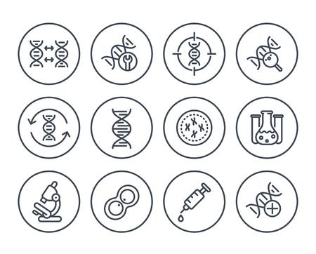 genetica lijn pictogrammen op wit, DNA-keten, genetisch onderzoek