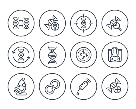 genetics line icons on white, dna chain, genetic research