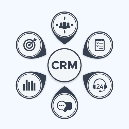 CRM, klantrelatiebeheer infographics sjabloon