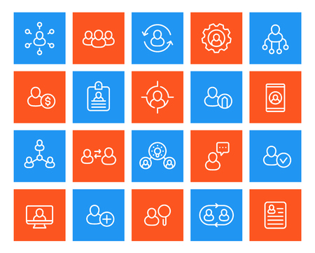 Human resources and personnel management icons set, linear