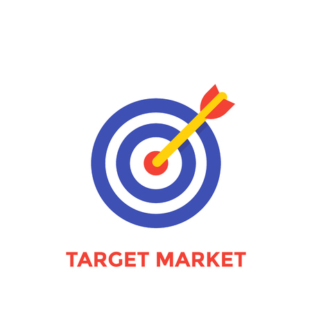 arrow in center of target icon, target market symbol
