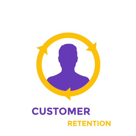 Returning customer and client retention icon Illustration