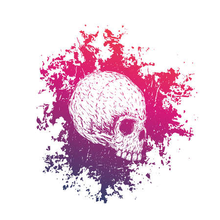 t-shirt print with skull on white Illustration