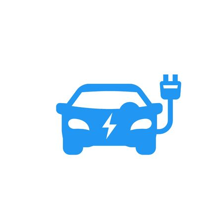 electric car icon on white