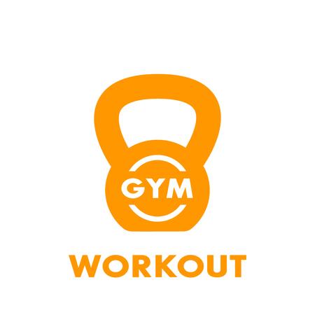 Workout, gym icon on white
