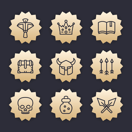 Game line icons set 2, crossbow, chest, arrows, potion, medieval, fantasy items