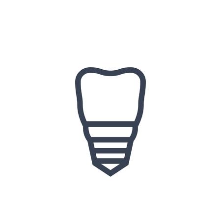 Tooth, dental implant icon on white