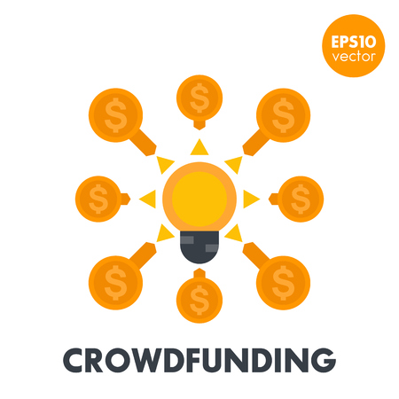 Crowdfunding icon in flat style, crowd sourcing, funding, contributions