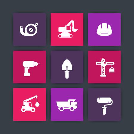 construction icons set, tools, equipment, trowel, drill, roller, excavator, heavy truck, crane, tape measure