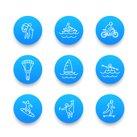 Extreme outdoor activities line icons, skydiving, alpinism, skateboarding, sailing, motocross, rafting
