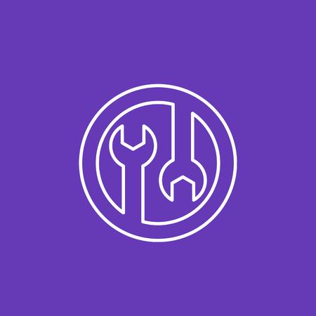 Tools icon, configuration, repair linear pictogram