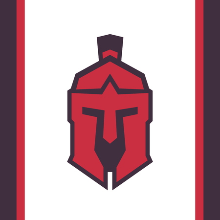 Spartan helmet, Greek warrior logo Illustration