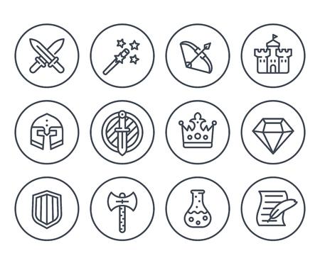 Game line icons on white, RPG, fantasy, swords, magic wand, bow, castle, helmet, armor, potion 일러스트