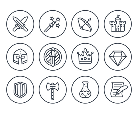 Game line icons on white, RPG, fantasy, swords, magic wand, bow, castle, helmet, armor, potion Illustration