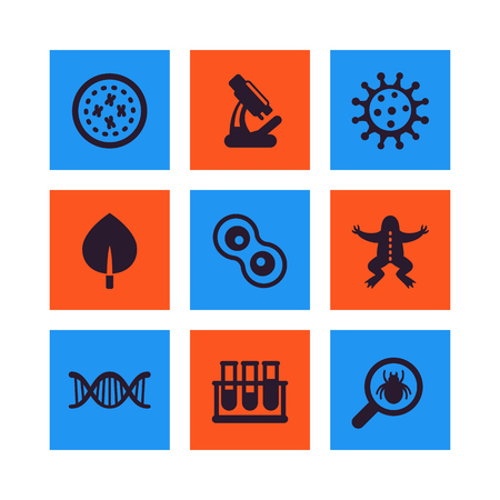 Biology vector icons set in blue and orange square  illustration.