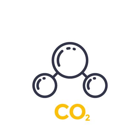 Co2 molecule line icon illustration on white background.