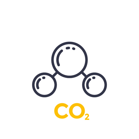 Co2 molecule line icon illustration on white background.