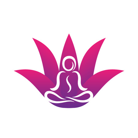 Yoga icon template on white, man in lotus position. Illustration