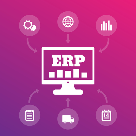 ERP system icons, enterprise resource planning illustration.