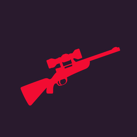 Hunting rifle with optical sight, sniper rifle vector icon illustration.