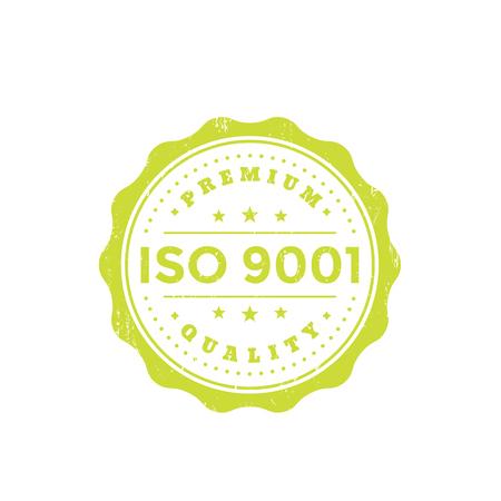 ISO 9001 vintage badge, green on white background illustration.