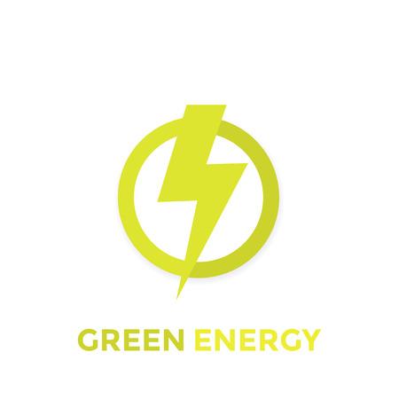 Green energy vector icon illustration on white background.