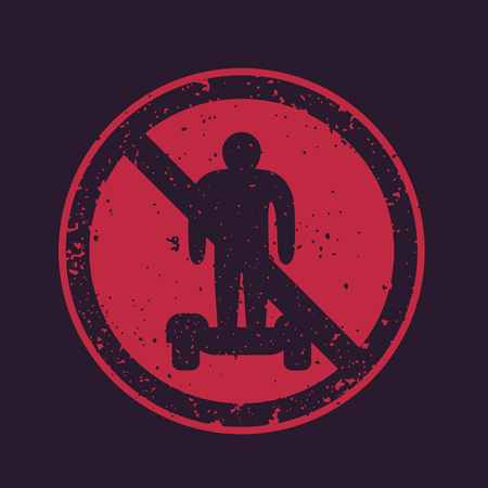 No hover boards vector sign illustration on black background.
