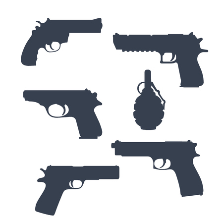 revolver pistols gun handguns grenade silhouettes vector rh 123rf com Hand Grenade Stencil Exploding Hand Grenade Drawing