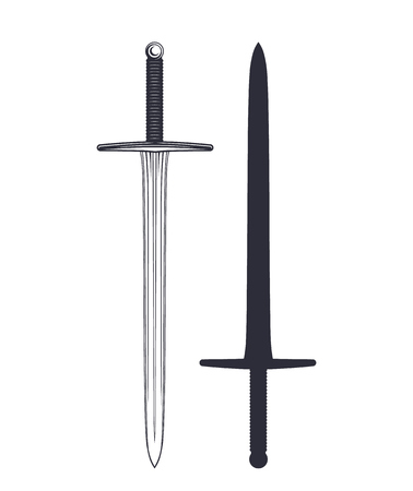 medieval sword isolated on white Illustration