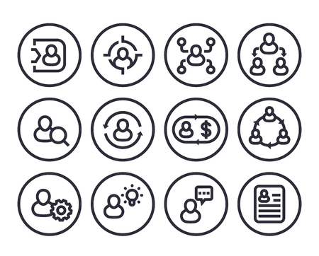 Management, human resources, HR, line icons in circles on white