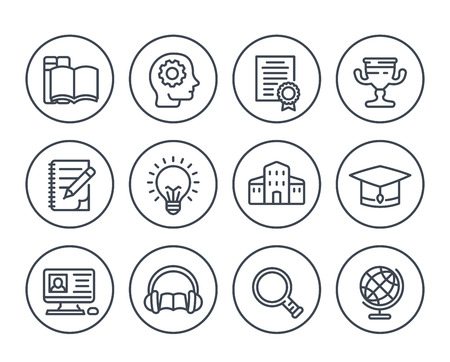 education, learning line icons on white