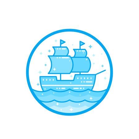 sailing vessel, old ship vector illustration Illustration
