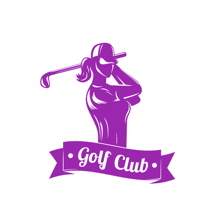 golf logo with girl swinging club 矢量图像
